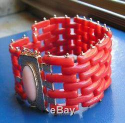 Antique Victorian Superb Carved Natural Red Coral Bracelet 18ct Gold Italy Made