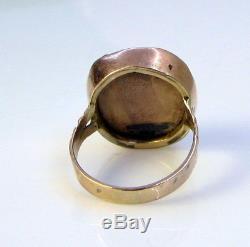 Antique Victorian Unique English 9K Rose Gold Carved Orange Coral Elegant Ring
