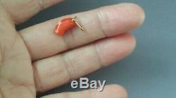 Antique Victorian Very Rare Red Carved Coral Bean 9ct Gold Pendant Charm & Clip
