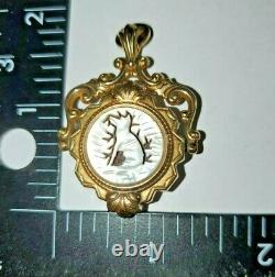 Antique Victorian Watch Fob Gold Fill With Carved Dog And Agate