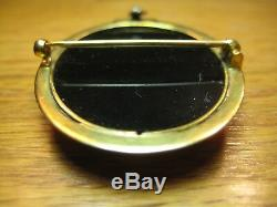 Antique Victorian White Carved Cameo Black Onyx Stone 14K Gold Brooch Pendant