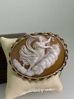 Antique Victorian c1870s Finely Carved Shell Cameo Brooch Pendant in 9K Gold