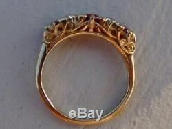 Antique Victorian carved 18k yellow gold ruby and old cut diamond ring