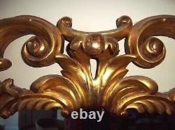 Antique Victorian carved giltwood gold gilt overmantle mirror original glass