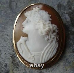 Antique Victorian carved shell cameo Goddess star anchor gold pendant brooch -Z7