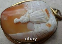 Antique Victorian carved shell cameo Lady garden gold plate brooch -X120