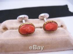 Antique Victorian era 18K Gold & Sterling Silver Carved Coral Cameo Cufflinks
