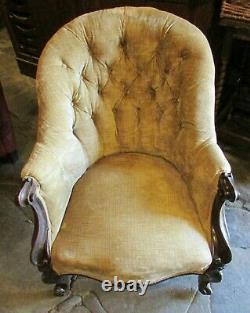 Antique Victorian gold upholstered velvet ARM CHAIR button back carved nursing