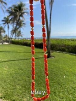 Antique Vintage 14k Gold Victorian Carved Red Coral Bead Necklace 30 Grams 18