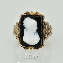 Antique Vintage Victorian Black Cameo 10k Pink Gold Carved Shell Estate Ring