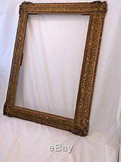 Antique Wooden Carved Gold Painted Huge Victorian Carved Picture Frame / Rare