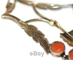 Antique c1870 Victorian 14K Gold Carved Coral Cameo, Roses Drop Dangle Earrings