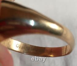 Antique sz 10 Deco 10k Gold Carved Amethyst Masonic Encrusted Ring 6.1 Grams OB