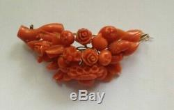 Antique victorian large carved red coral brooch and gold 15,3gr