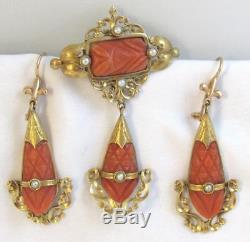 Antque Victorian Hand Carved Coral & Peral 18 kt Yellow Gold 3 Piece Parure