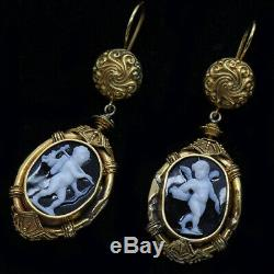 Archaeological Revival Earrings Gold Carved Cameos Luigi Rosi Antique (6281)