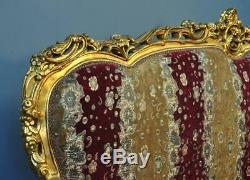 Attractive Large Rococo Style Carved Gold Gilded Upholstered Settee Sofa Couch