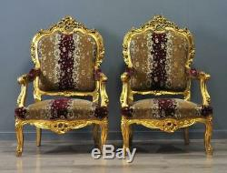 Attractive Pair Of 2 Large Rococo Style Carved Gold Gilded Upholstered ArmChairs
