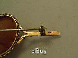 BEAUTIFUL VICTORIAN 14K YELLOW GOLD BAR PIN with CARVED SHELL CAMEO MEDALLION