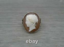 Beautiful 9ct Gold Victorian Carved Cameo Ring UK Size O c1880
