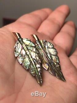 Beautiful Antique Victorian 10k Gold & Carved Abalone Leaf Earrings c. 1880's