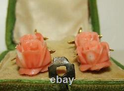 Beautiful, Antique Victorian 14 Ct Gold Carved Coral Rose Earrings
