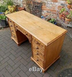 Beautiful Antique Victorian Carved Golden Ash Writing Desknine Drawers