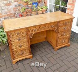 Beautiful Antique Victorian Carved Golden Ash Writing Desknine Drawers