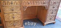 Beautiful Antique Victorian Carved Golden Ash Writing Deskornate Sideboard