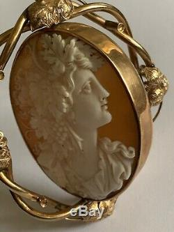 Beautiful Fine Victorian 9ct Gold Carved Shell Cameo Swivel Brooch