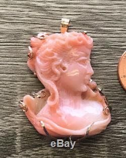 Beautiful Hand Carved Pink Coral Victorian Bust Pendant 30mm x 35mm 14k Gold