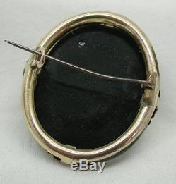 Beautiful Large Victorian Gold And Black Glass Carved Cameo Brooch