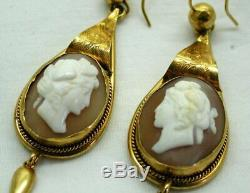 Beautiful Pair Of Victorian Gold Pinchbeck & Carved Cameo Large Dropper Earrings
