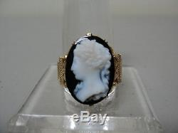 Beautiful Victorian 14k Yellow Gold Ring, Hardstone Carved Cameo Size 8