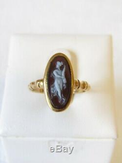 Beautiful Victorian 18 Ct Gold Carved Full Length Nude Lady Cameo Ring Size M