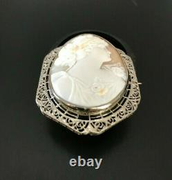 Beautiful Victorian Style 14k White Gold Filigree And Shell Carved Cameo