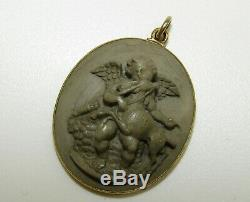 Beautifully Carved, Antique Victorian 9 Ct Gold Lava Cameo Pendant, Cherub/deer
