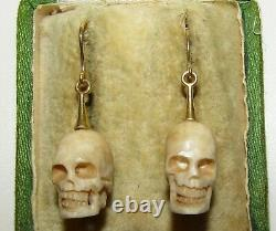 Beautifully Carved Antique Victorian Memento Mori Skull 9 Ct Gold Earrings