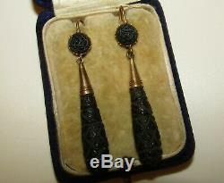 Beautifully Carved, Victorian, English 9 Ct Gold Whitby Jet Mourning Earrings