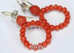 Best Antique Victorian Carved Coral Bead & Diamond 18ct Gold Hoop Earrings