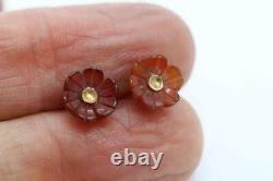 Best Antique Victorian Edwardian 18ct Gold & Carved Carnelian Flower Earrings