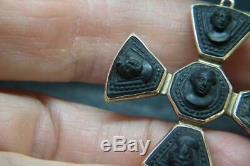 Best Antique Victorian Grand Tour Souvenir Carved Cameo Lava 9ct Gold Pendant