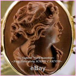 C1840s Antique VICTORIAN HAND CARVED LAVA CAMEO ROSE GOLD BRACELET V. Cert $3000