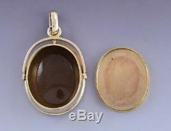 C1850s Victorian 18k Gold & Carved Carnelian Greco-Roman Intaglio Locket Pendant