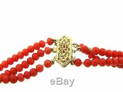 CHIC 14k Yellow Gold Filigree & Carved Mediterranean Coral Necklace Circa 1900s