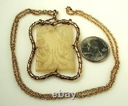 CHINESE CARVED JADE Pendant Victorian Edwardian 2.5 9k + 14k GOLD CHAIN 22.25