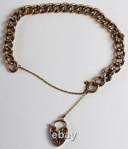 Carved 9K Rose Gold Victorian / Edwardian Padlock Charm Bracelet