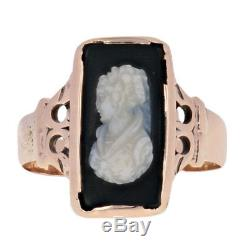 Carved Banded Agate Victorian Cameo Ring 10k Yellow Gold Antique