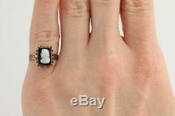 Carved Banded Agate Victorian Cameo Ring 10k Yellow Gold Antique 3 1/2 3 3/4