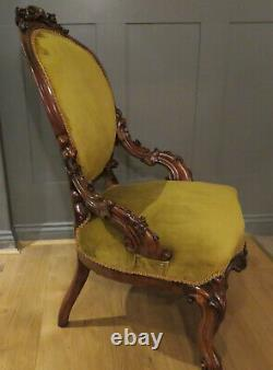 Carved Walnut Armchair New Upholstered Soft Gold C. 1860/1880